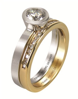 This 14kt White Channel Band is shown with .19ctw Diamonds. This band can accompany many of our styles, such as R3186W/CZ, and R3187W/CZ.