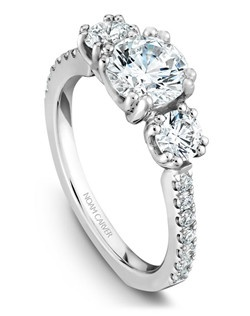 18k white gold classic 3 stone engagement ring with 16 round diamonds and a TCW of 0.72ct