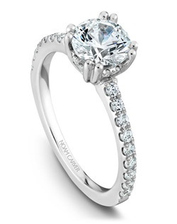 18k white gold classic solitaire with 26 round diamonds and a TCW of 0.32ct