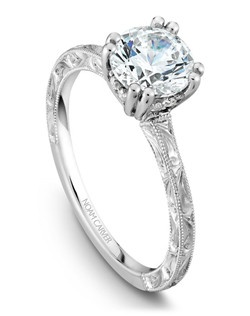 18k white gold vintage engraved engagement ring with 8 round diamonds and a TCW of 0.06ct