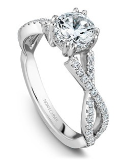 18k white gold classic engagement ring with 58 round diamonds and a TCW of 0.35ct