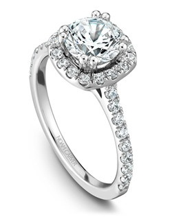 18k white gold modern halo engagement ring with 42 round diamonds and a TCW 0.48ct