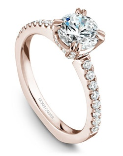 18k rose gold classic solitaire with 52 round diamonds and a TCW of 0.40ct