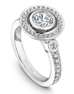 18k white gold vintage halo engagement ring with 41 round diamonds and a TCW of 0.39ct