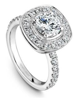 18k white gold modern halo engagement ring with 30 round diamonds and a TCW of 0.80ct