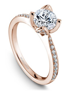 18k rose gold floral solitaire with 70 round diamonds and a TCW of 0.32ct