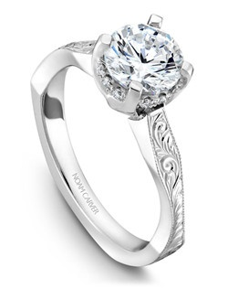 18k white gold vintage solitaire with engraving and a TCW of 0.09ct
