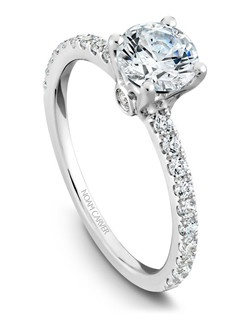 18k white gold classic solitaire with 22 round diamonds and a TCW of 0.33ct