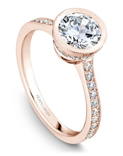 18k rose gold vintage bezel set engagement ring with a TCW of 0.35ct