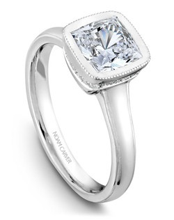 18k white gold vintage bezel set engagement ring with a TCW of 0.08ct
