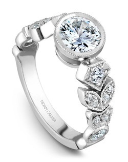 18k white gold vintage floral engagement ring with 16 round diamonds and a TCW of 0.49ct
