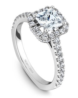 18k white gold modern halo princess set engagement ring with a TCW of 0.55ct