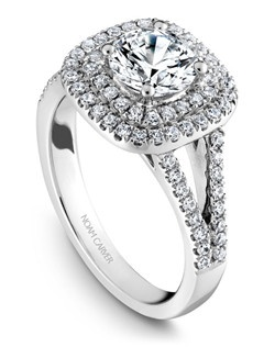 18k white gold modern double halo engagement with a split shark and a a TCW of 0.48ct