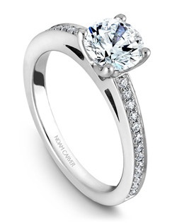 18k white gold classic solitaire with 26 round diamonds and a TCW of 0.16ct