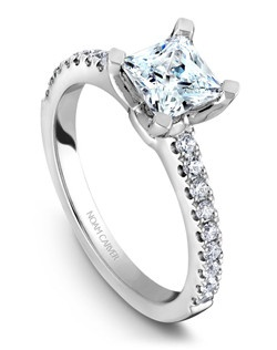 18k white gold classic princess solitaire with a TCW of 0.27ct