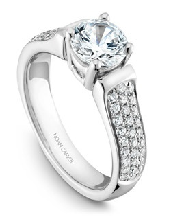18k white gold modern engagement ring with 56 round diamonds and a TCW of 0.38ct