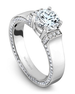 18k white gold modern engagement ring with 112 round diamonds and a TCW of 0.45ct