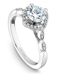 18k white gold vintage floral design with a halo, 28 round diamonds and a TCW of 0.14ct