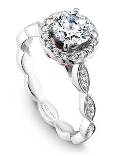 18k white gold vintage floral design with a halo, 34 round diamonds and a TCW of 0.27ct