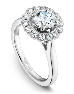 18k white gold vintage floral design with a halo, 14 round diamonds and a TCW of 0.37ct