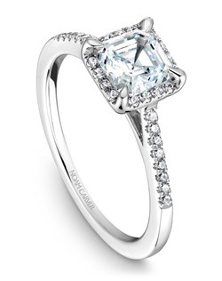 18k white gold modern halo engagement ring with a halo, 32 round diamonds and a TCW of 0.16ct