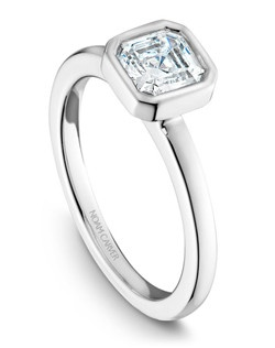18k white gold modern engagement ring with an asscher cut