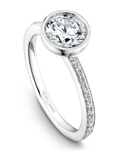 18k white gold modern engagement ring with 28 round diamonds and a TCW of 0.13ct