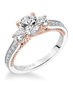 Marlow, Contemporary Three Stone Diamond with Two Tone Rope Detail Engagement Ring. Available in Platinum, 18K and 14K gold. Price listed below is an estimate for the setting only. Most settings can be custom made to fit different sizes or shapes center stone.