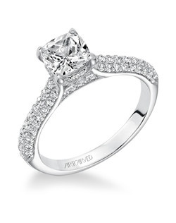 Blair, Classic Diamond Pave Engagement Ring with Surprise Diamond and Diamond Detail and Under the Center Stone. Available in Platinum, 18K and 14K gold. Price listed is an estimate for the setting only. Most settings can be custom made to fit different size or shape center stone.
