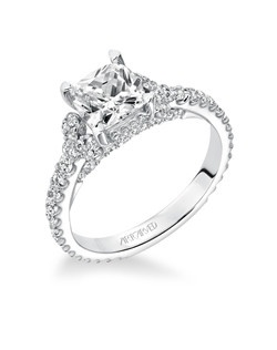Polly, Classic Diamond Engagement Ring with Diamond Side Clusters & Diamond Accented Band and Diamond Bridge Underneath the Head