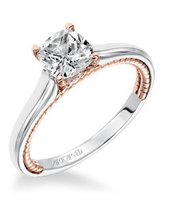 Cameron, Contemporary Two Tone Solitaire with Surprise Diamonds and Rope Detail Engagement Ring. Available in Platinum, 18K and 14K gold. Price listed is an estimate for the setting only. Most settings can be custom made to fit different size or shape center stone.