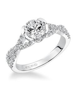 Adeena,  Contemporary Half Bezel with Twisted Diamond Shank Engagement Ring