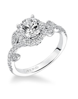 Thalia, Contemporary Diamond Halo Floral with Leaf Accents Engagement Ring. Available in Platinum, 18K and 14K gold. Price listed is an estimate for the setting only. Most settings can be custom made to fit different size or shape center stone.
