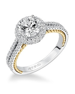 Emmeline, Contemporary Two Tone Curved Diamond Prong Set with Rope Detail Wedding Band. Price listed is an estimate only.