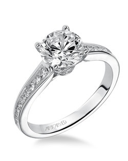 Isla, Diamond engagement ring with channel set diamond shank. Available in Platinum, 18K and 14K gold. Price listed below is for the setting only. Settings can be custom made to fit any size or shape center stone. Matching band available - Style number V499GRW-L