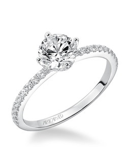 Ashlyn, Classic Prong Set Diamond Engagement Ring with diamond accented band. Available in Platinum, 18K and 14K gold. Price listed below is for the setting only. Total weight of semi-mount 1/3 Ct. Settings can be custom made to fit any size or shape center stone. Matching band available - Style number V543W-L