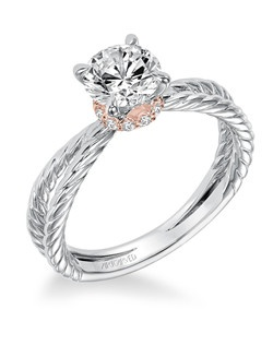 Caitlin, Classic two tone solitaire diamond engagement ring with rose gold and diamond accented collar with rope design split shank. Available in Platinum, 18K and 14K gold. Price listed is an estimate for the setting only. Most settings can be custom made to fit different size or shape center stone. Matching band available - Style number V569W-L