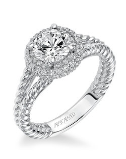 Margo, Contemporary classic pave halo diamond engagement ring with rope design split shank. Available in Platinum, 18K and 14K gold. Price listed is an estimate for the setting only. Most settings can be custom made to fit different size or shape center stone. Matching band available - Style number V570W-L