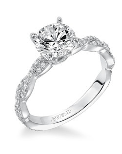 Madeleine, Contemporary prong set diamond engagement ring with diamond accented braided shank. Available in Platinum, 18K and 14K gold. Price listed is an estimate for the setting only. Most settings can be custom made to fit different size or shape center stone. Matching band available - Style number V575W-L