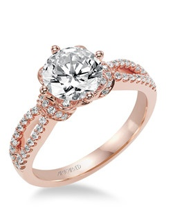 Phoebe, Contemporary diamond engagement ring featuring an exclusive ArtCarved setting, pave, rose gold color and split shank.  Available in Platinum, 18K and 14K gold. Price listed is an estimate for the setting only. Most settings can be custom made to fit different size or shape center stone. Matching band available - Style number V337R-L