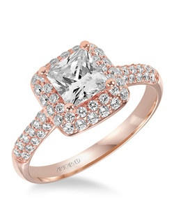 Betsy, Contemporary Diamond engagement ring with pave diamond double halo and diamond accented band.  Available in Platinum, 18K and 14K gold. Price listed below is for the setting only. Settings can be custom made to fit any size or shape center stone. Matching band available - Style number V378R-L