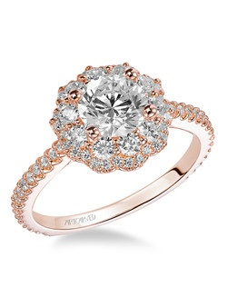 Priscilla, Contemporary Halo diamond engagement ring with diamond shank. Available in Platinum, 18K and 14K gold. Price listed below is for the setting only. Settings can be custom made to fit any size or shape center stone. Matching band available - Style number V449R-L