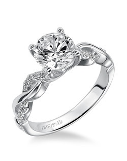 Gabriella, Contemporary Diamond Engagement Ring with Round Center Stone and Diamond Enhanced Band. Available in Platinum, 18K and 14K gold. Price listed is an estimate for the setting only. Most settings can be custom made to fit different size or shape center stone.  Matching band available - Style number V319W-L