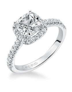 Layla, Classic prong set cushion halo diamond engagement ring with diamond accented shank. Available in Platinum, 18K and 14K gold. Price listed is an estimate for the setting only. Most settings can be custom made to fit different size or shape center stone.  Matching band available - Style number V324W-L