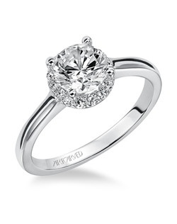 Allison, Classic Contemporary Diamond Solitaire Engagement Ring with Round Center Stone Surounded by Round Diamonds and a Polished Band. Available in Platinum, 18K and 14K gold. Price listed below is for the setting only. Total weight of semi-mount 1/8 Ct. Settings can be custom made to fit any size or shape center stone. Matching band available - Style number V325W-L