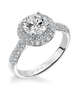 Betsy, Contemporary Diamond engagement ring with pave diamond double halo and diamond accented band.  Available in Platinum, 18K and 14K gold. Price listed is an estimate for the setting only. Most settings can be custom made to fit different size or shape center stone.