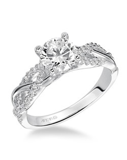 Virginia, Contemporary Diamond engagement ring with twisted diamond band. Available in Platinum, 18K and 14K gold. Price listed below is for the setting only. Total weight of semi-mount 1/5 Ct. Settings can be custom made to fit any size or shape center stone. Matching band available - Style number V421W-L