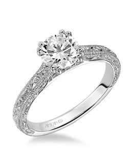 Bernadette, Vintage Inspired Diamond Engagement Ring with engraving and milgrain detailed band. Available in Platinum, 18K and 14K gold. Price listed is an estimate for the setting only. Most settings can be custom made to fit different size or shape center stone. Matching band available - Style number V432W-L