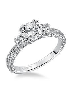 Anabelle, Contemporary Three stone engraved diamond engagement ring. Available in Platinum, 18K and 14K gold. Price listed is an estimate for the setting only. Most settings can be custom made to fit different size or shape center stone. Matching band available - Style number V433W-L