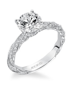 Evie, Contemporary classic prong set diamond engagement ring with delicate  twisted diamond accented shank. Available in Platinum, 18K and 14K gold. Price listed below is for the setting only. Settings can be custom made to fit any size or shape center stone. Total weight of semi-mount 3/8 Ct. Matching band available - Style number V577W-L